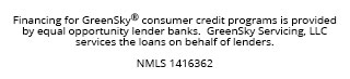 Financing for GreenSky consumer credit programs is provided by equal opportunity lender bank. GreenSky Servicing, LLC services the loans on behalf of lenders. - NMLS 1416362
